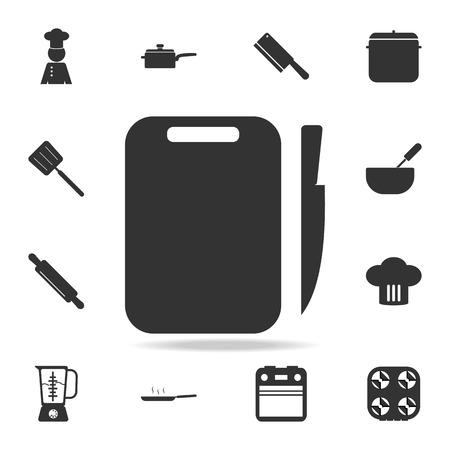 Icono de tablero y cuchillo. Conjunto de iconos de elementos de chef y cocina. Diseño gráfico de primera calidad. Icono de colección de signos y símbolos para sitios web, diseño web, aplicación móvil sobre fondo blanco Foto de archivo - 96197199