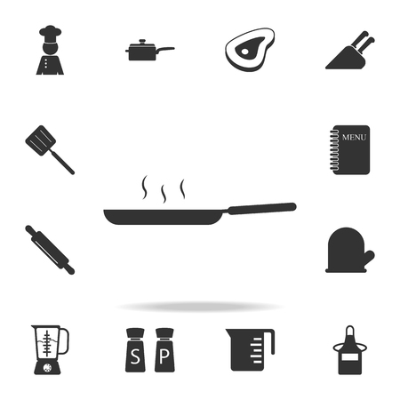 Frying pan icon. Set of Chef and kitchen  element icons. Premium quality graphic design. Signs and symbols collection icon for websites, web design, mobile app on white background Иллюстрация