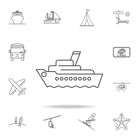 Cruise ship line icon with set of other travel and leisure elements. Ilustração
