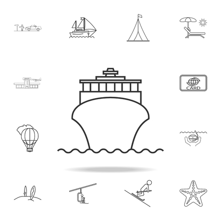 cruise ship liner line icon. Set of Tourism and Leisure icons. Signs, outline furniture collection, simple thin line icons for websites, web design, mobile app, info graphics on white background