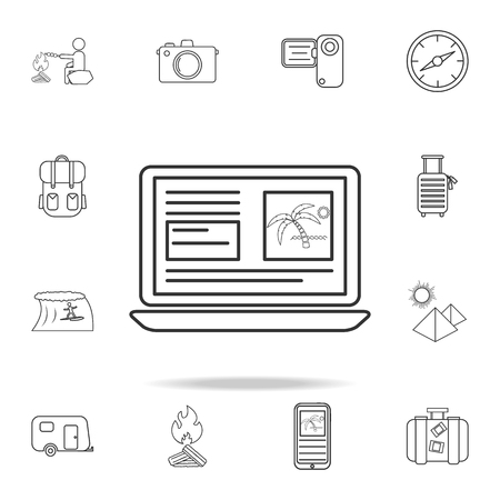 A booking online line icon. Set of Tourism and Leisure icons. Signs, outline furniture collection, simple thin line icons for websites, web design, mobile app, info graphics on white background Illustration