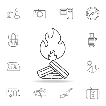 Bonfire line icon. Set of Tourism and Leisure icons. Signs, outline furniture collection, simple thin line icons for websites, web design, mobile app, info graphics on white background Illustration