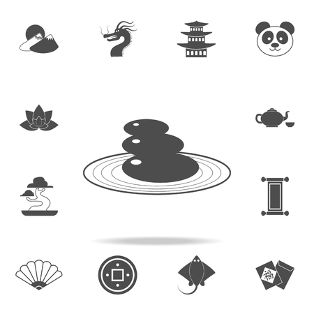 Garden of stones icon. Set of Chinese culture icons. Web Icons Premium quality graphic design. Signs and symbols collection, simple icons for websites, web design, mobile app on white background Stock Illustratie