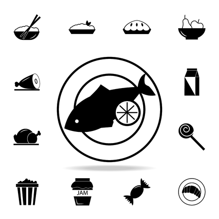 Fish on a plate icon. Detailed set of food and drink icons. Premium quality graphic design. One of the collection icons for websites, web design, mobile app on white background