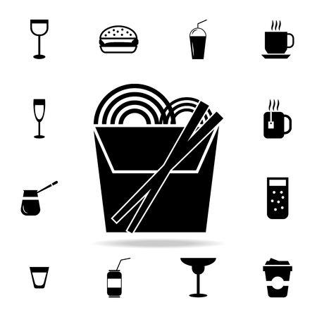A noodles in thin line box with chopsticks icon. Detailed set of food and drink icons. Premium quality graphic design. One of the collection icons for website, web design, mobile app on white background Illusztráció