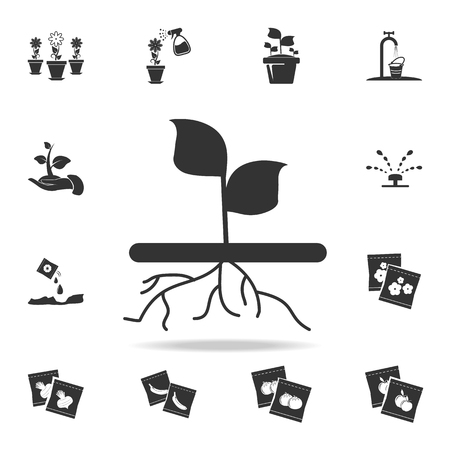 plant with roots icon. Detailed set of garden tools and agriculture icons. Premium quality graphic design. One of the collection icons for websites, web design, mobile app on white background