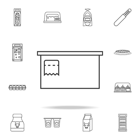 Cashier's table icon with other elements vector illustration
