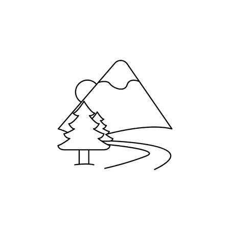 Road to the mountains icon vector illustration