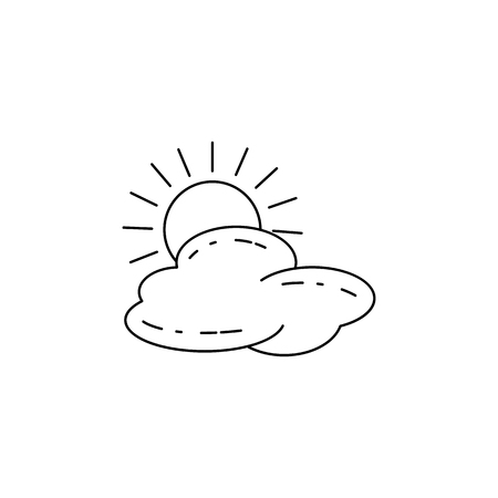 The sun behind the clouds icon vector illustration