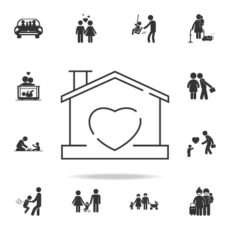 House with heart shape within icon. Detailed set of human body part icons. Premium quality graphic design. One of the collection icons for websites, web design, mobile app on white background