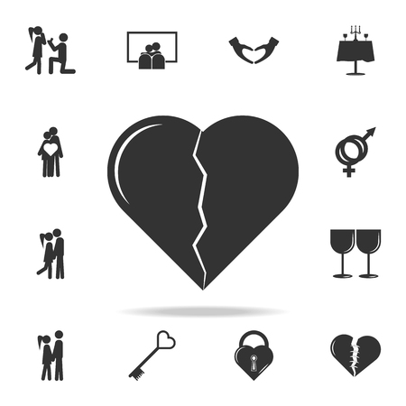 Broken heart icon. Love or couple element icon. Detailed set of signs and elements of love icons. Premium quality graphic design. One of the collection icons for websites on white background