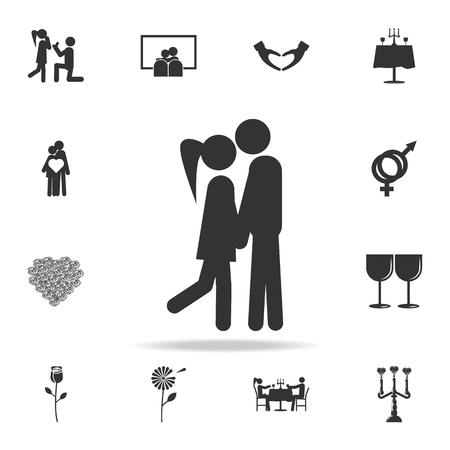 Liebhaber-Symbol zu küssen. Liebes- oder Paarelementikone. Ausführlicher Satz Zeichen und Elemente von Liebesikonen. Hochwertiges Grafikdesign. Eine der Sammlungsikonen für Website auf weißem Hintergrund Standard-Bild - 96704759
