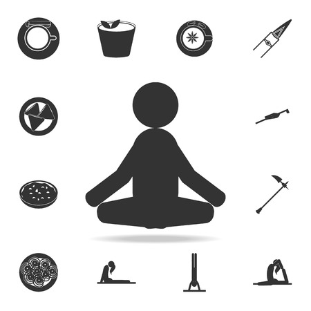 Meditator with set of other Indian culture symbol icons. Illustration