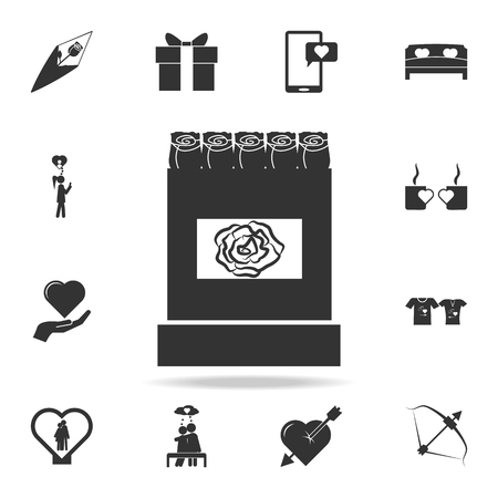 Beautiful rose box icon. Love or couple element icon. Detailed set of signs and elements of love icons. Premium quality graphic design. One of the collection icons for websites on white background