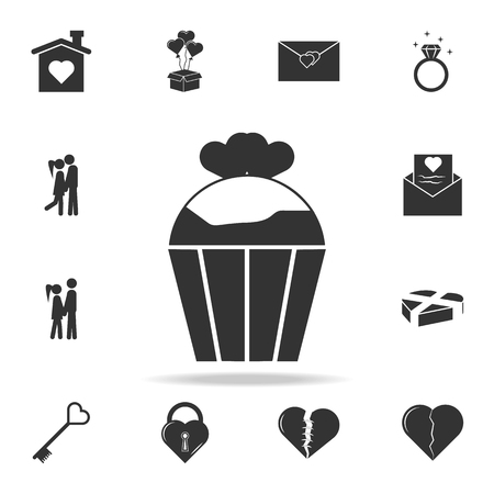 cupcake with heats icon. Love or couple element icon. Detailed set of signs and elements of love icons. Premium quality graphic design. One of the collection icons for websites on white background Illustration