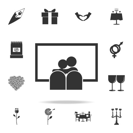 Couple see a movie icon. Love or couple element icon. Detailed set of signs and elements of love icons. Premium quality graphic design. One of the collection icons for websites on white background