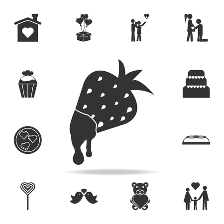 Chocolate dipped strawberry iconchocolates in heart boxes icon. Detailed set of signs and elements of love icons. Premium quality graphic design. One of the collection icons  on white background Çizim