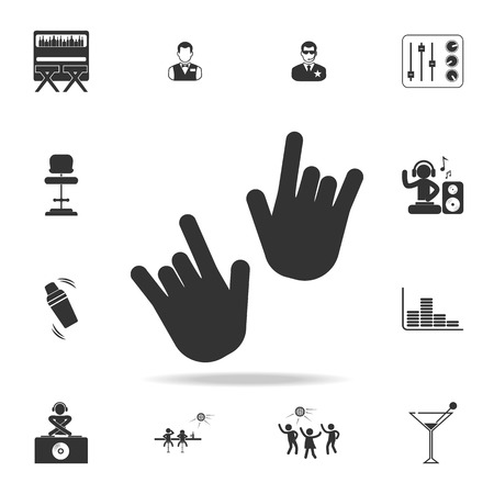 I Love You hand sign icon with set of other detailed night club and disco icons. Illusztráció