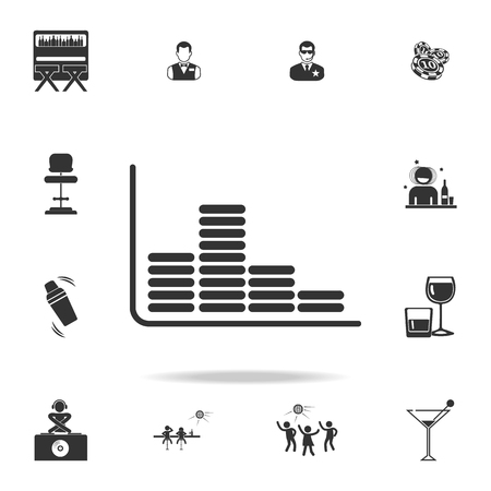 Sound level icon with set of other detailed night club and disco icons.