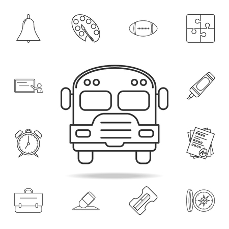 School bus icon. Detailed set of education outline icons. Premium quality graphic design. One of the collection icons for websites, web design, mobile app on white background. Vettoriali