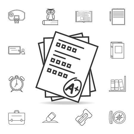Examination score pen icon. Detailed set of education outline icons. Ilustrace