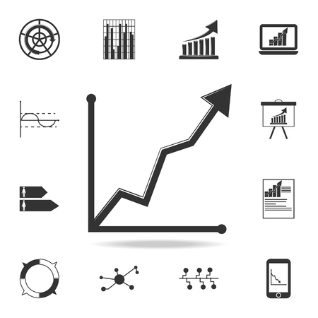 Curved up arrow chart icon. Detailed set of Trend diagram and chart icons.