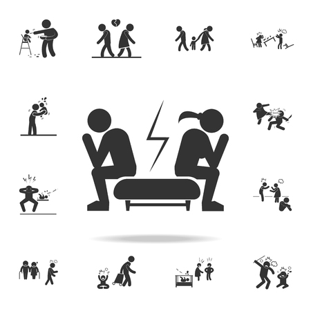 A quarrel of a loving couple icon. Detailed set of illustration bad family icons. Premium quality graphic design. Иллюстрация