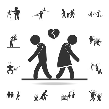 fall out of love icon. Detailed set of illustration bad family icons. Premium quality graphic design. One of the collection icons for websites, web design on white background