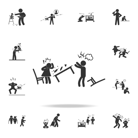 A household row icon. Detailed set of illustration bad family icons. Premium quality graphic design. One of the collection icons for websites, web design on white background