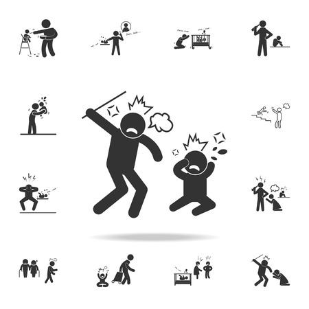A parental assault on a child icon. Detailed set of illustration bad family icons. Premium quality graphic design.