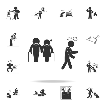 A disrespect for parents icon. Detailed set of illustration bad family icons. Premium quality graphic design. One of the collection icons for websites, web design on white background