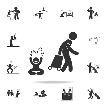 one of the parents leaving the family  icon. Detailed set of illustration bad family icons. Premium quality graphic design. One of the collection icons for websites, web design on white background