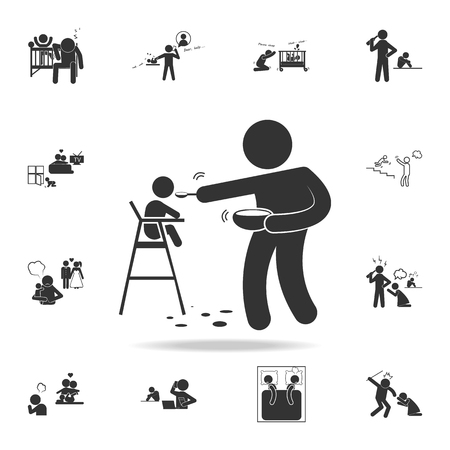improper feeding of a child icon. Detailed set of illustration bad family icons. Premium quality graphic design. One of the collection icons for websites, web design on white background