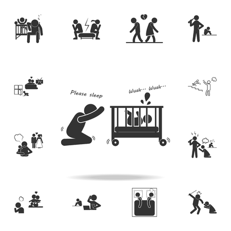Sleepless nights of parents, not a sleeping child icon. Detailed set of illustration bad family icons. Premium quality graphic design. One of the collection icons for websites on white background  イラスト・ベクター素材
