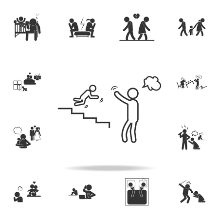 A parents giving wrong upbringing icon. Detailed set of illustration bad family icons. Premium quality graphic design.  イラスト・ベクター素材