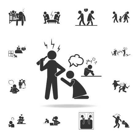 A family problem with alcohol icon. Detailed set of illustration bad family icons. Premium quality graphic design.