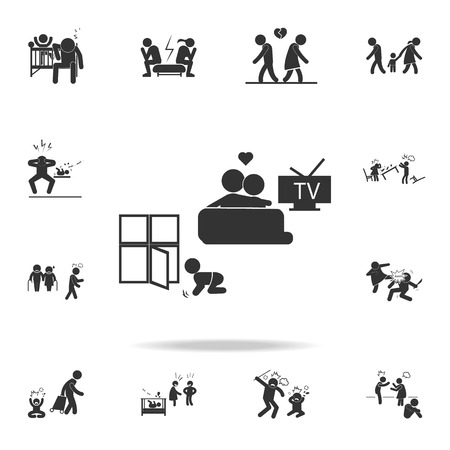 parents giving wrong upbringing icon. Detailed set of illustration bad family icons. Premium quality graphic design. One of the collection icons for websites, web design on white background
