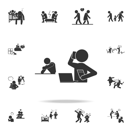 leave children unattended due to employment icon. Detailed set of illustration bad family icons. Premium quality graphic design. One of the collection icons for websites on white background