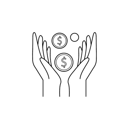 coin hands icon. Element of banking icon for mobile concept and web apps. Thin line  icon for website design and development, app development. Premium icon on white background Illustration