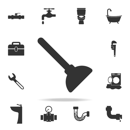 Toilet Plunger Icon. Detailed set of plumber element icons.