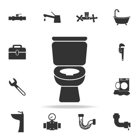 WC bathroom toilet icon. Detailed set of plumber element icons. Vettoriali