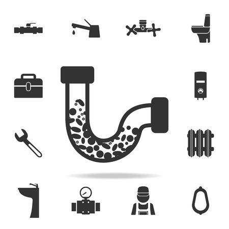 Clogging tube icon. Detailed set of plumber element icons.