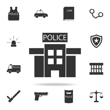 A police station in black and white icon. Detailed set of police element icons. Premium quality graphic design. One of the collection icons for websites, web design, mobile app on white background