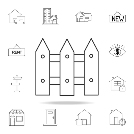 Fence line icon vector illustration with other elements
