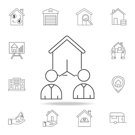 People selecting a home icon vector illustration with other elements