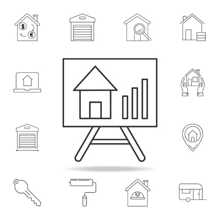 Growth of real estate prices vector icon with other elements