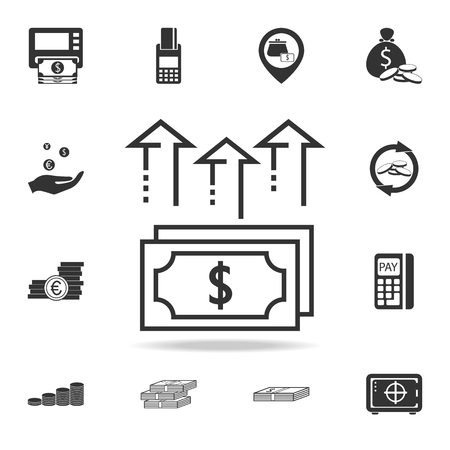 Pile of cash dollar bill arrows up icon. Detailed set of finance, banking and profit element icons. Illustration