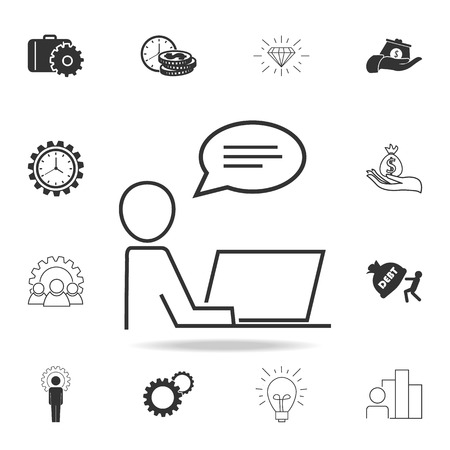 Working process icon. Detailed set of finance, banking and profit element icons.