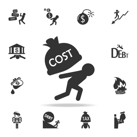 Man carry the costs icon. Detailed set of finance, banking and profit element icons.