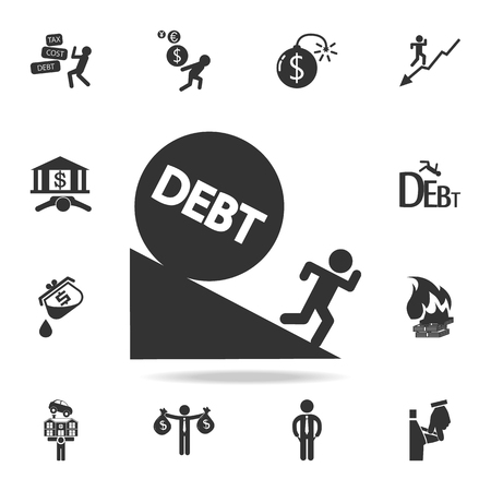 Man running debt ball fall icon. Detailed set of finance, banking and profit element icons. Illustration